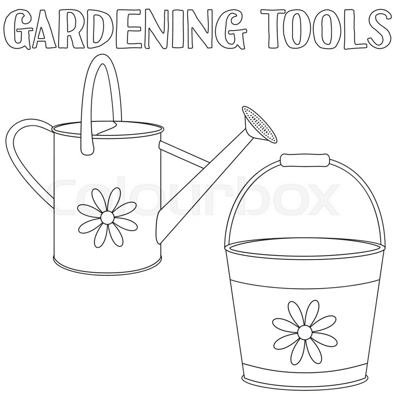 Bucket And Watering Can Coloring Book Page For Adults Kids Gardening Tool Vector Illustration Gift Card Certificate Badge Label Icon Poster