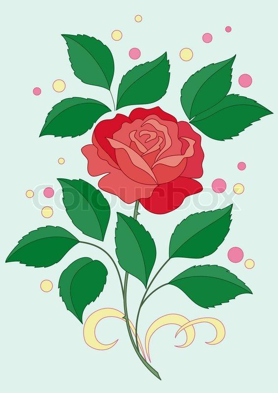 blume rose mit gr nen bl ttern und scharlachroten bl ten und konfetti auf blauem hintergrund. Black Bedroom Furniture Sets. Home Design Ideas