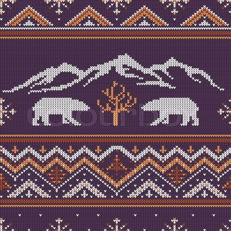 Winter Knitted Woolen Pattern With Polar Bears On A Background Of