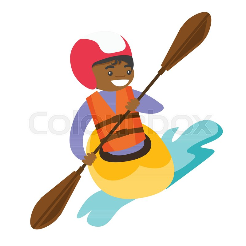 Black sportswoman in helmet and life jacket riding a kayak on river. Woman rowing with a paddle while traveling by boat. Woman paddling a canoe. Vector cartoon illustration. Square layout, vector