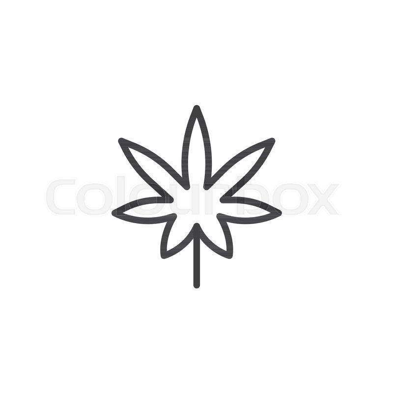 Marijuana Leaf Outline Icon Linear Style Sign For Mobile Concept