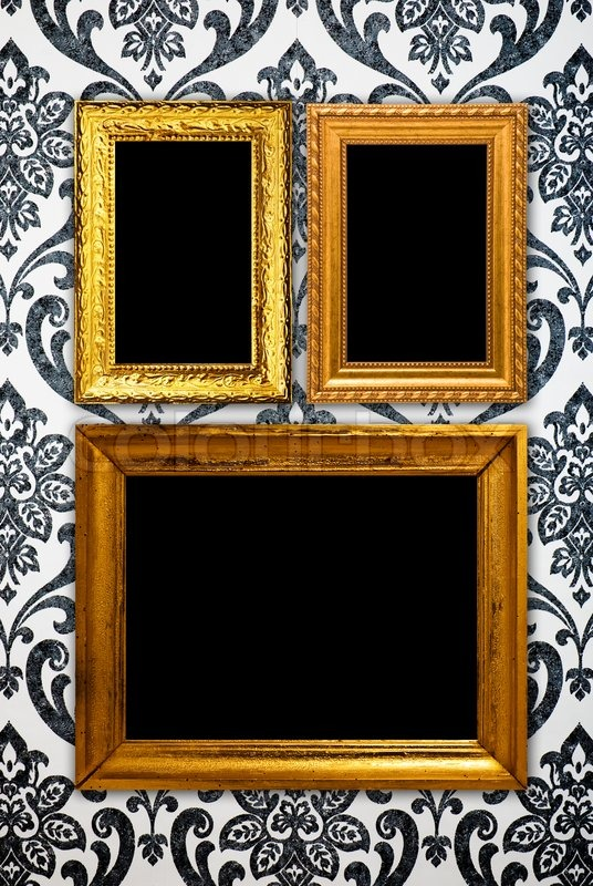 Gold Frame On Vintage Wallpaper Background Stock Photo Colourbox