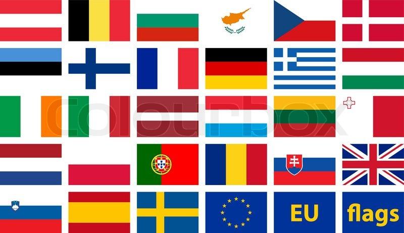 Vector Set Of Flags Of European Union Stock Vector Colourbox