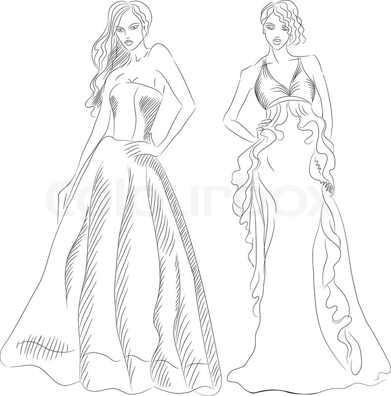 Black And White Sketch Of A Beautiful Young Girls With -3196