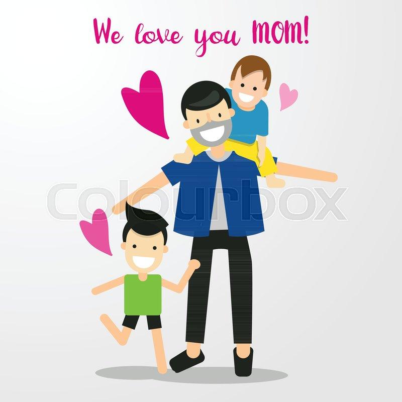Cartoon Character Happy Family Love Stock Vector Colourbox