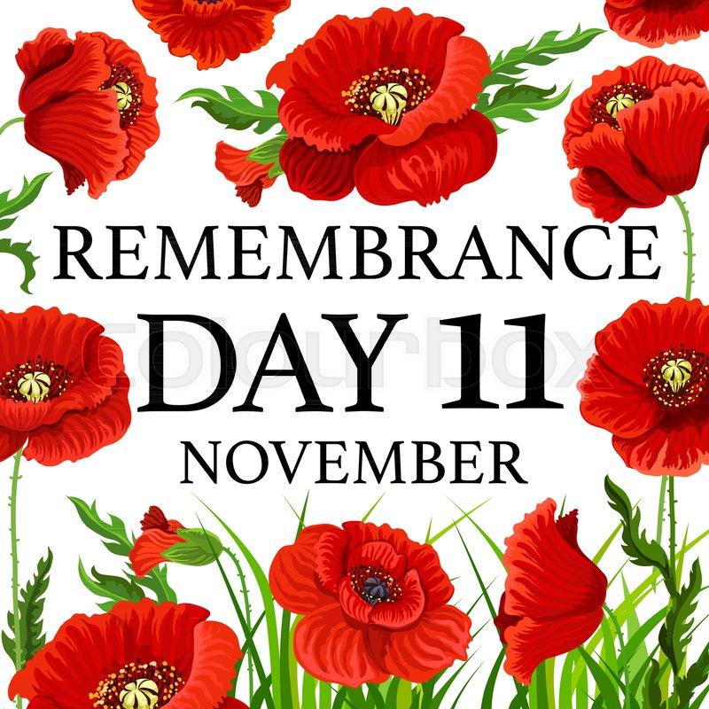 11 November Poppy Day greeting card ... | Stock Vector ...