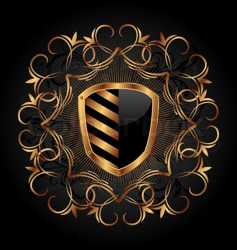 illustration ornate heraldic shield vector stock