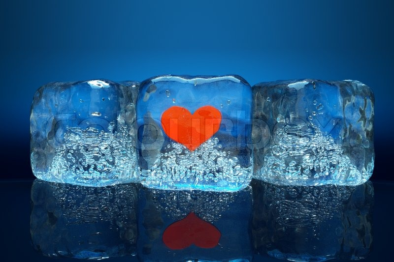 Captivating A Frozen Red Heart As A Simbol Of Frozen Love, Ice Cubes With Heart | Stock  Photo | Colourbox