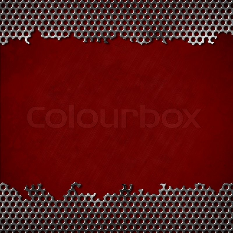 Perforated Metal With Dark Red Background Stock Photo