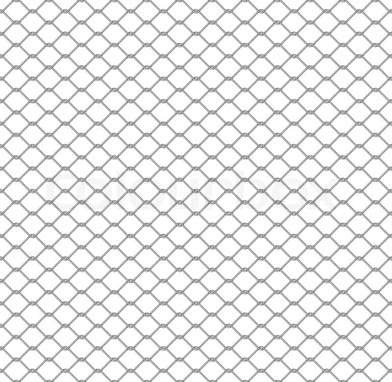 Metal chain link fence seamless on white   Stock Photo   Colourbox