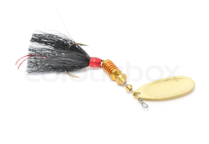 Rooster tail fishing spinner spoon lure isolated on white for Rooster tail fishing lure