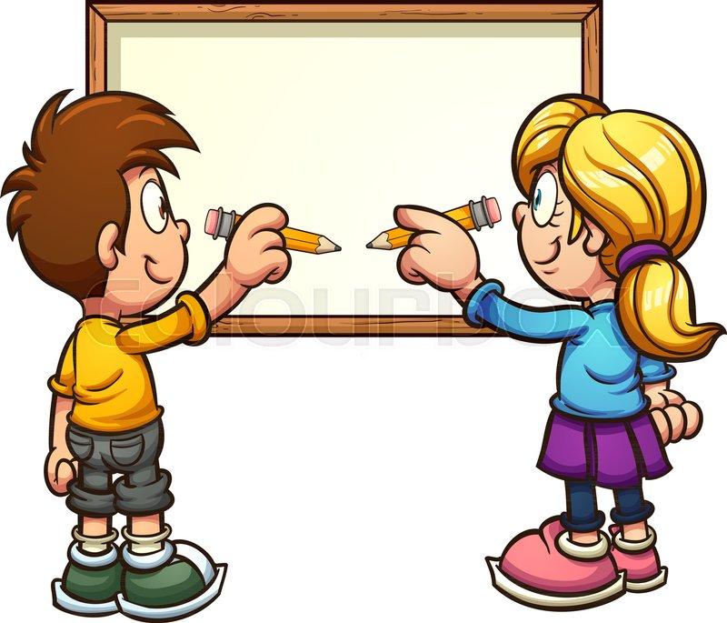 cartoon kids writing on a blank board vector clip art illustration rh colourbox com kid writing clipart children writing clipart