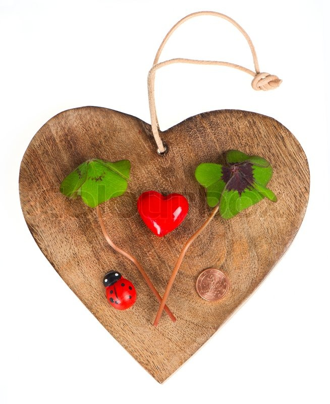 Wooden Heart With Symbols Of Luck Red Heart Coin Clover And