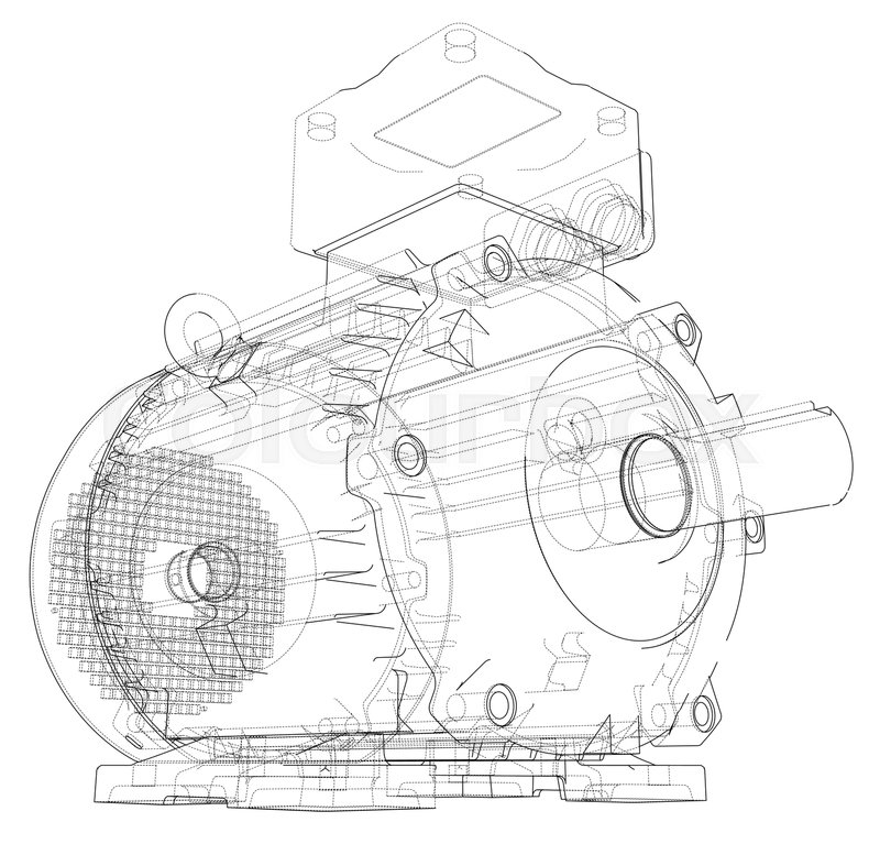 Coloring Page With The Electrician: Electric Motor Outline. Vector ...