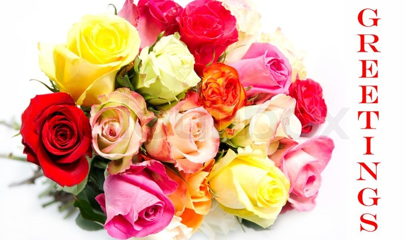 Beautiful flower bouquet of colorful roses on white background ...