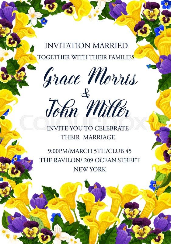 Wedding invitation banner template with spring flower frame crocus stock vector of wedding invitation banner template with spring flower frame crocus calla stopboris Choice Image