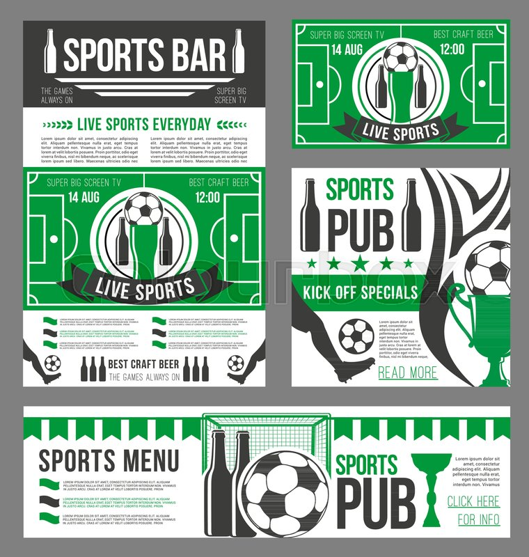 football sport pub banner template with soccer ball beer drink
