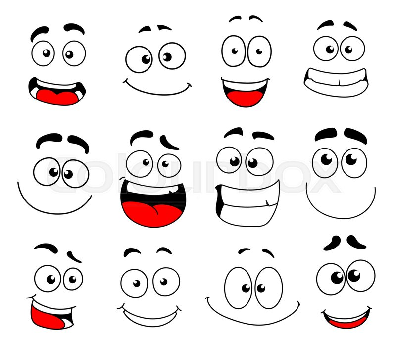 Emotion Icon Of Emoticon Smiley And Emoji Faces Happy Sad Stock