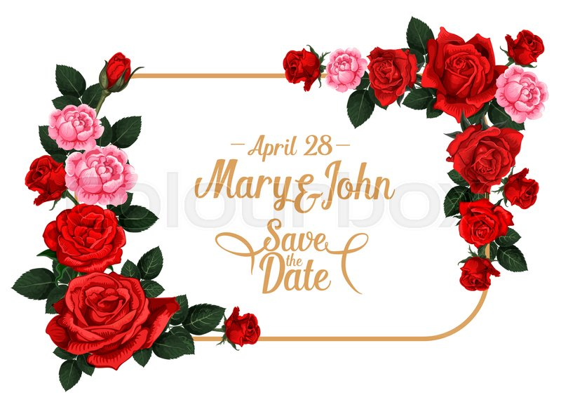 Save The Date Wedding Invitation Card Template With Rose Flower
