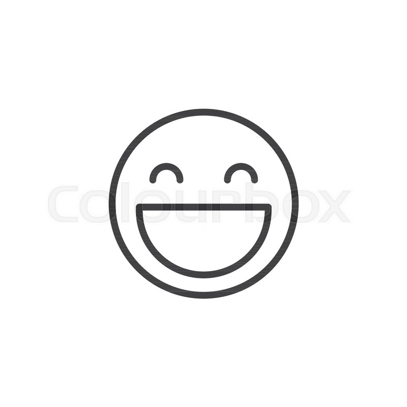 Smiling Face Outline Icon Linear Style Sign For Mobile Concept And