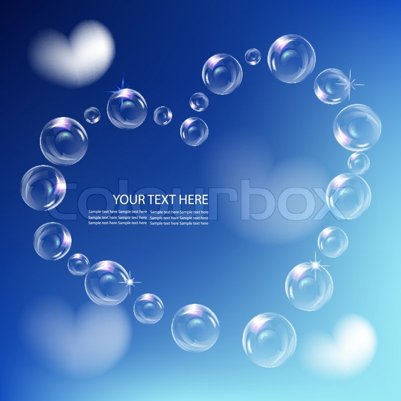 Heart of realistic bubbles,symbol of love, against blue sky back ...