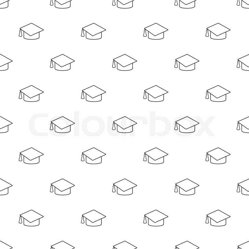 graduation cap pattern vector seamless repeating for any web design