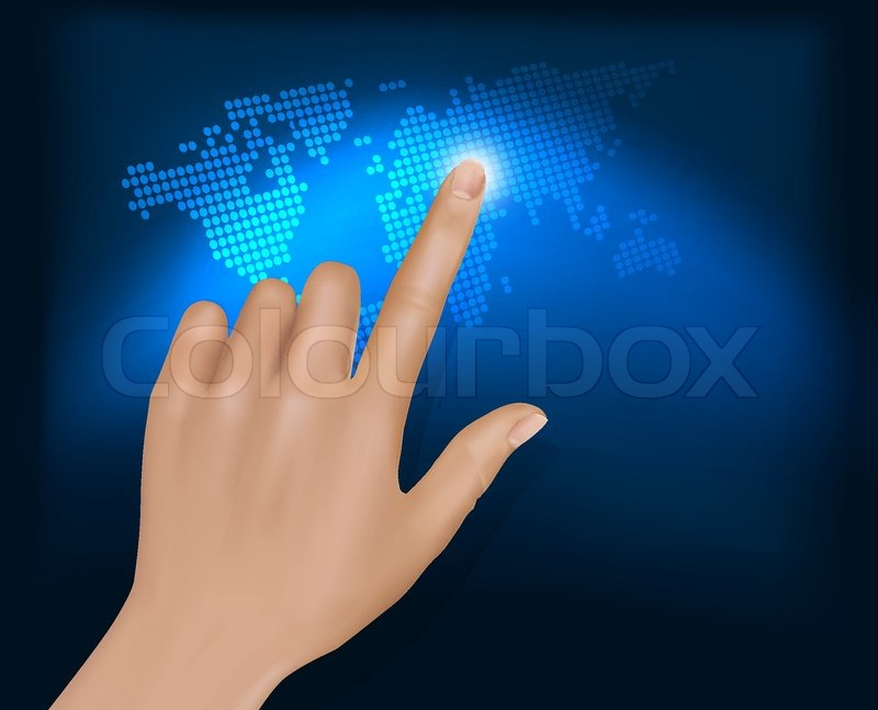finger touching world map on a touch screen vector stock vector
