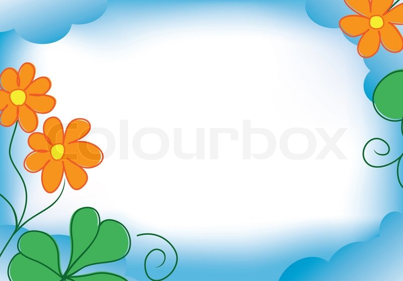 blue frame with orange flowers stock photo colourbox