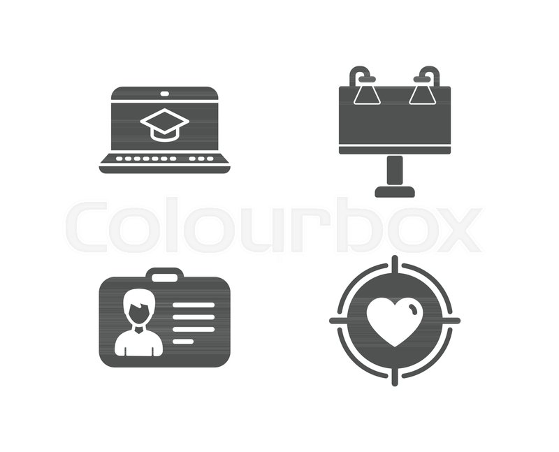 Set Of Identification Card Website Education And Road Banner Icons Valentine Target Sign Person Document Video Learning Advertisement Heart In Aim