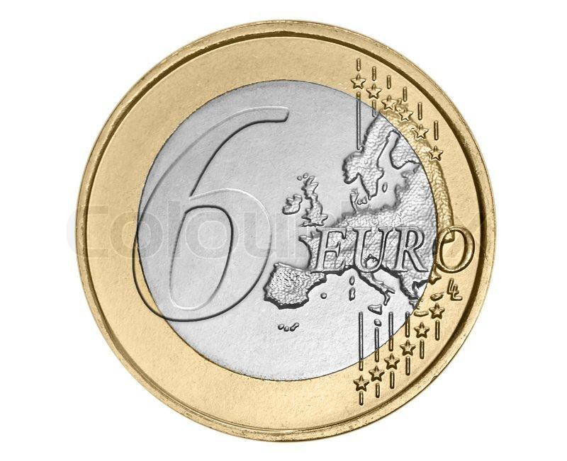 Sechs Euro Münze Auf Weiß Stockfoto Colourbox