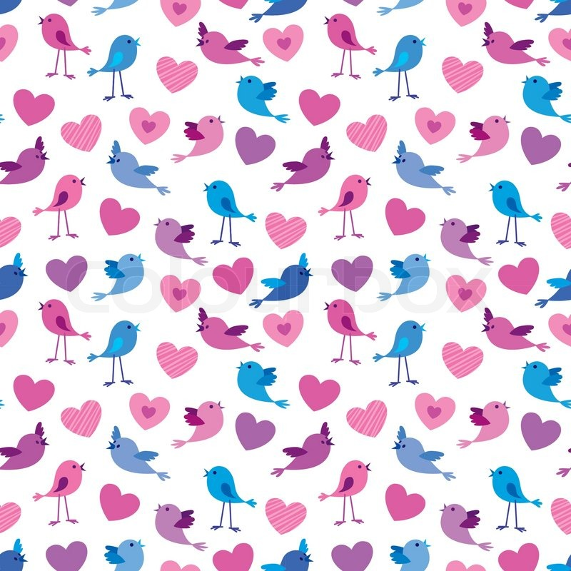 Seamless valentine pattern with cute birds and hears stock vector seamless valentine pattern with cute birds and hears stock vector colourbox voltagebd Gallery