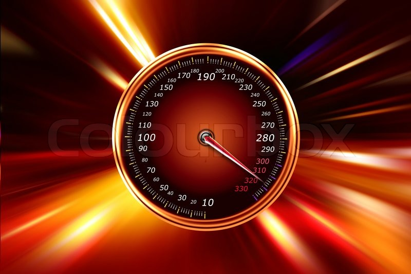 Acceleration speedometer on night road | Stock Photo ...