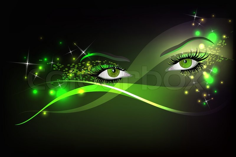 dark background with beautiful green glamour shining sparked eyes, Powerpoint templates
