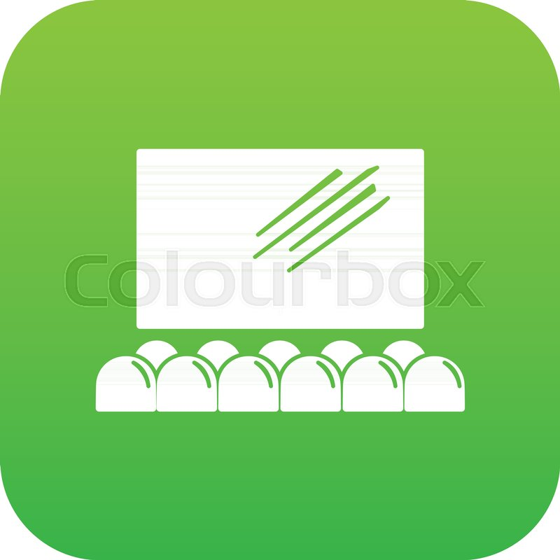 Movie Theater Screen Icon Green Vector Stock Vector Colourbox