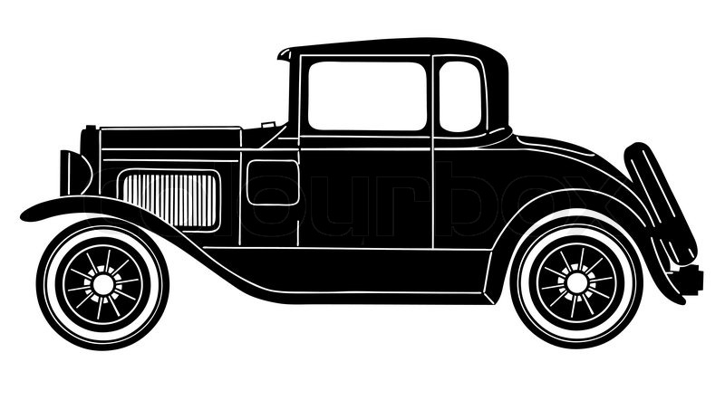 Retro Car On White Background Vector Stock Colourboxrhcolourbox: Old Fashion Car Silhouette At Cicentre.net