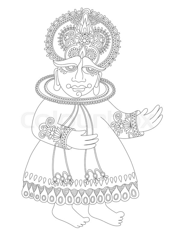Line Drawing Of South Indian Stock Vector Colourbox