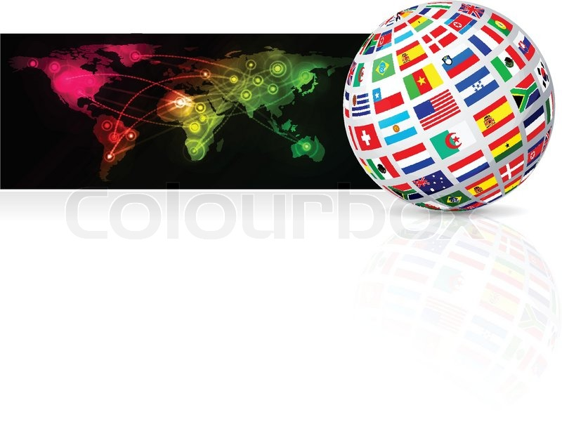 Globe frome flag on world map background vector illustration stock globe frome flag on world map background vector illustration stock vector colourbox gumiabroncs Images