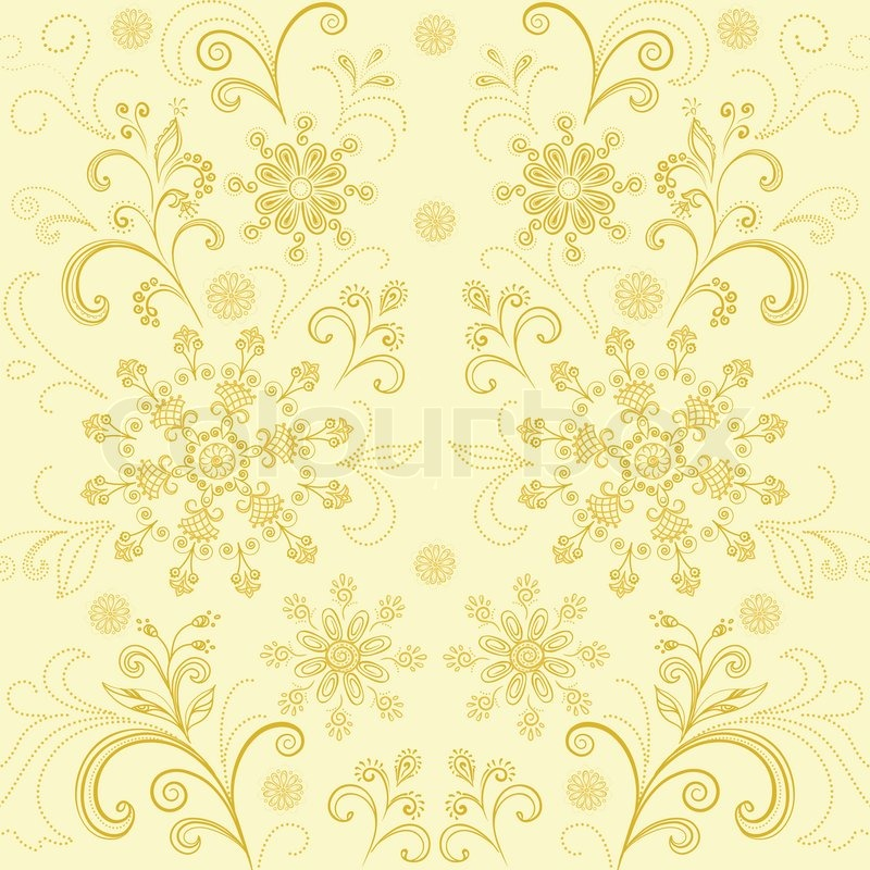 abstract floral background outline flowers and leaves on