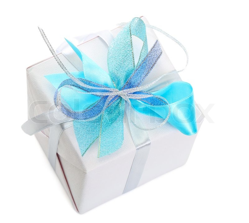 Gift box with ribbon and bow on white background stock photo gift box with ribbon and bow on white background stock photo negle Choice Image