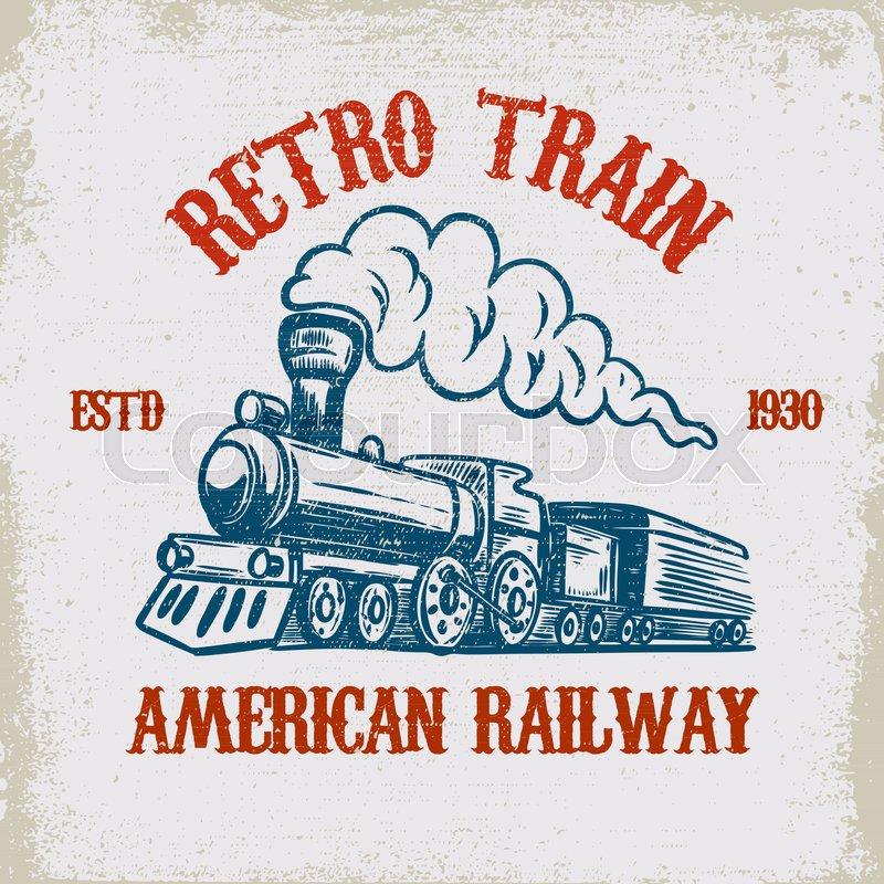 Retro Train Vintage Locomotive Stock Vector Colourbox