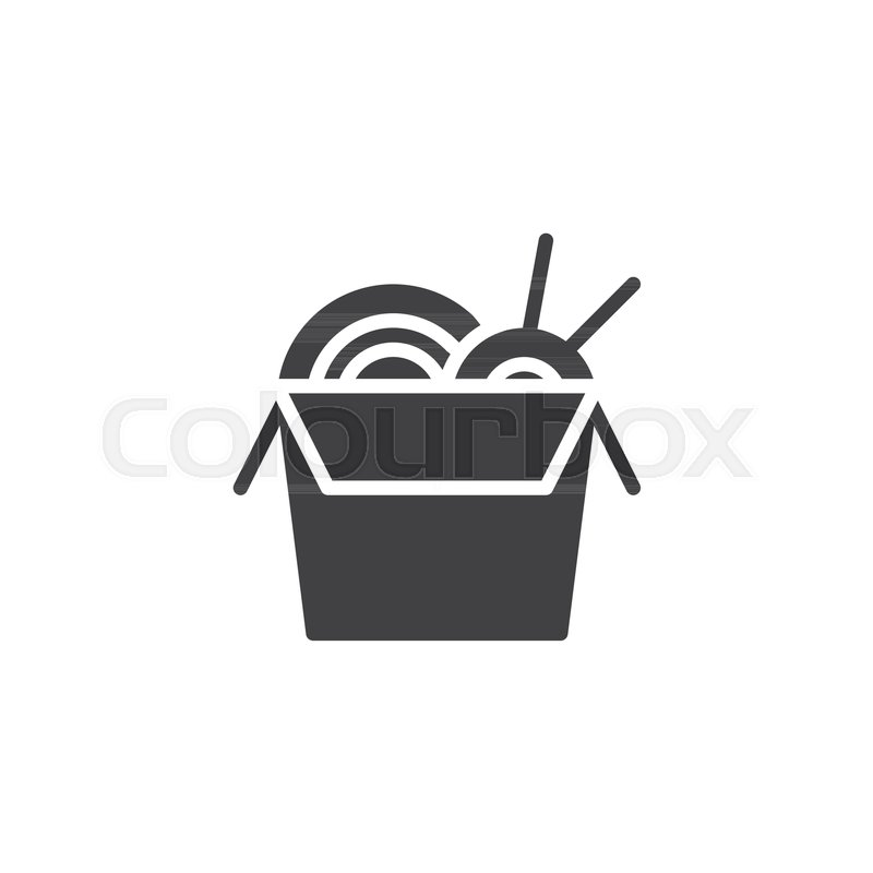 Noodles Box With Chopsticks Vector Icon Filled Flat Sign For Mobile
