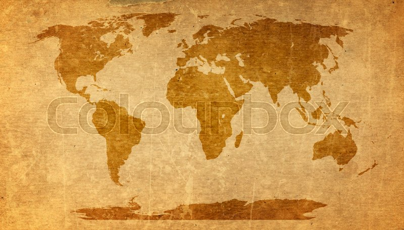 World map on old paper texture - brown paper sheet. | Stock Photo ...