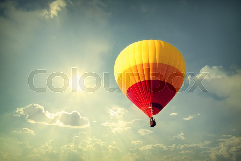 Hot air balloon on sky with cloud, ...