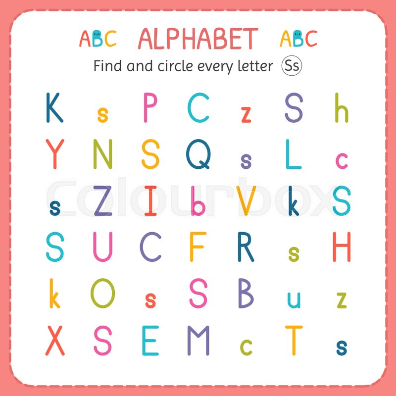 Find and circle every letter S. Worksheet for kindergarten and ...