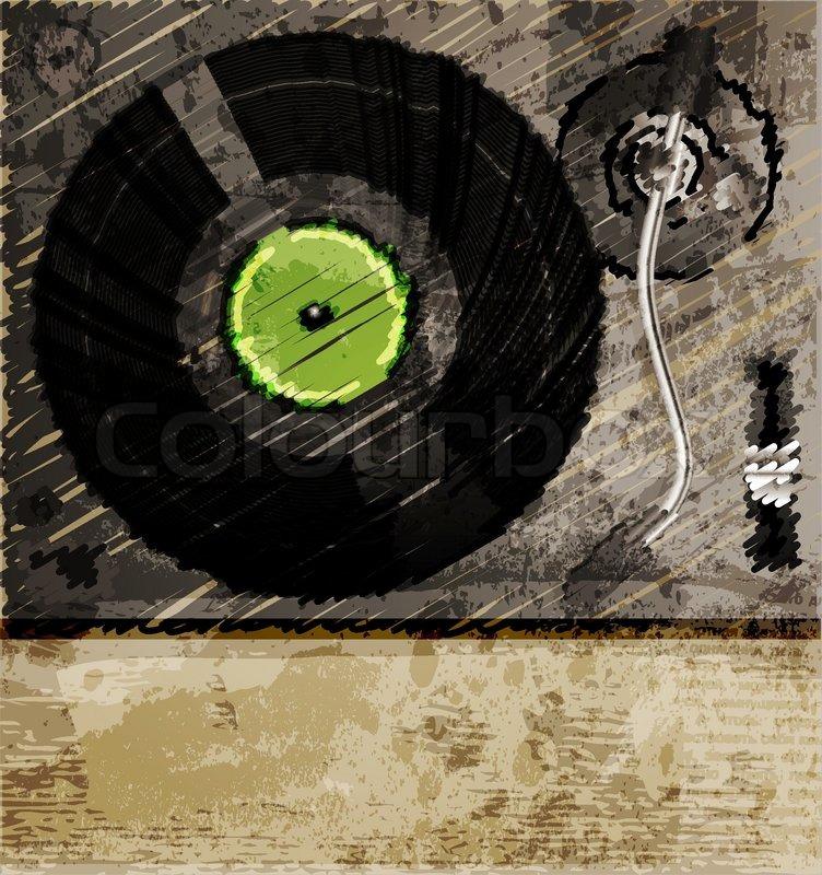 Retro music background color sketch of turntable stock for Retro house music