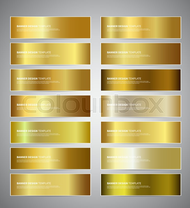 set of gold gradient vector banners templates or website headers