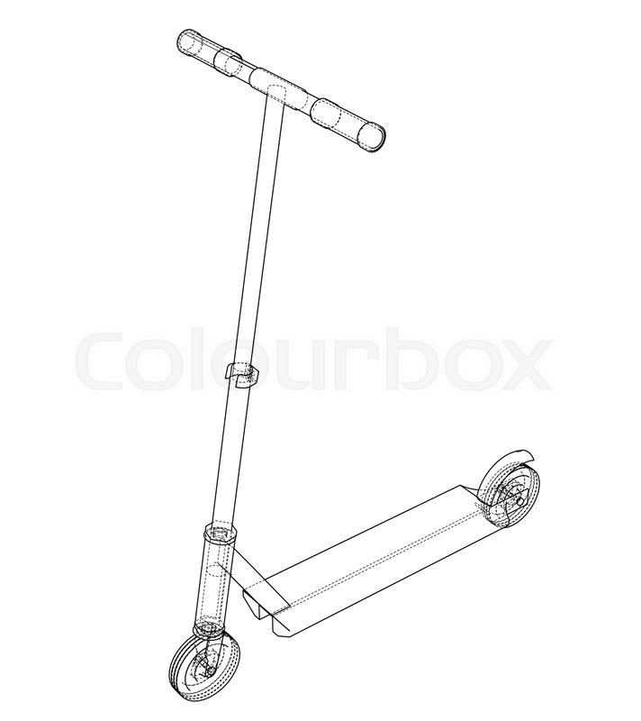 Kick Scooter Outline Vector Rendering Stock Vector Colourbox Fat