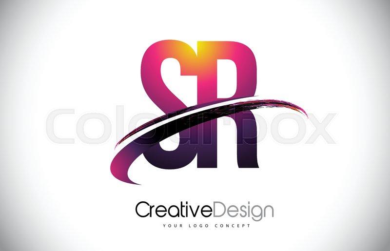 sr s r purple letter logo with swoosh design creative magenta
