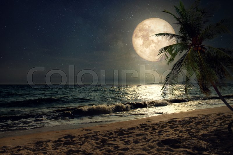 Beautiful fantasy tropical beach with Milky Way star in night skies, full moon - Retro style artwork with vintage color tone (Elements of this moon image furnished by NASA), stock photo