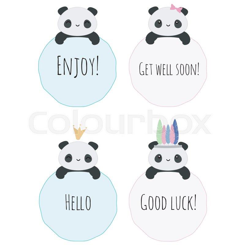 set of 4 vector badges with cute kawaii panda bears and text use it